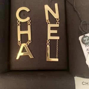New Chanel Gold Logo Drop Letter Earrings CHA NEL